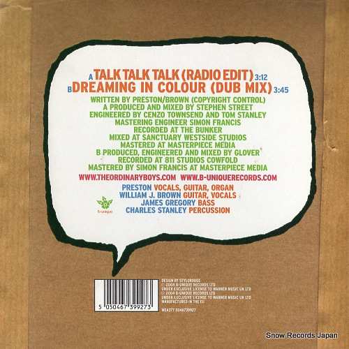 ORDINARY BOYS, THE talk talk talk (radio edit) WEA377 - back cover