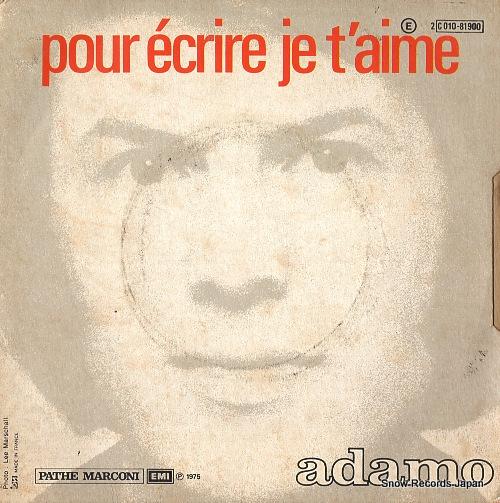 ADAMO c'est ma vie SC010-81.900 - back cover