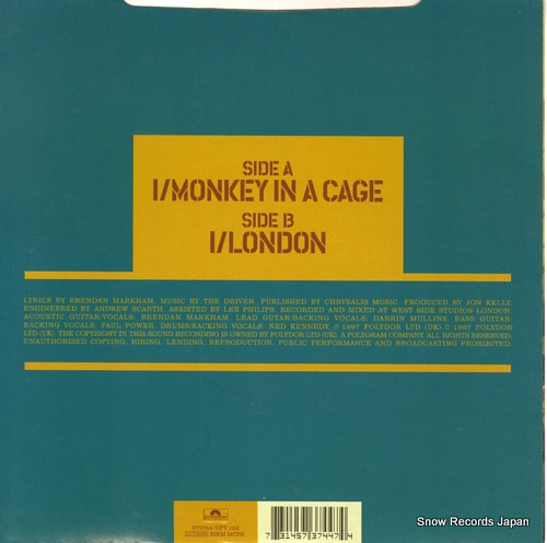DRIVEN, THE monkey in a cage 573744-7/PY102 - back cover