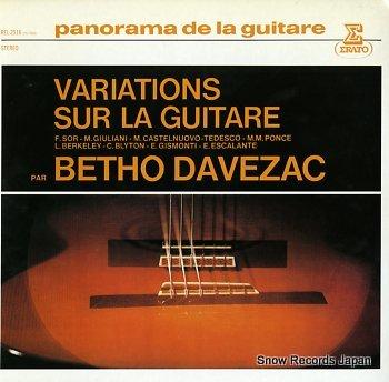 DAVEZAC, BETHO variations sur la guitare