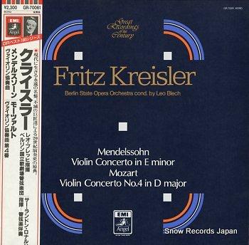 KREISLER, FRITZ mendelssohn; violin concerto in e minor, op.64