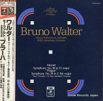WALTER, BRUNO mozart; symphony no.38 in d major