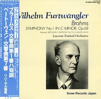 FURTWANGLER, WILHELM beethoven; symphony no.1 in c minor, op.68