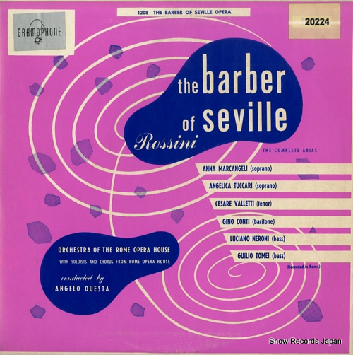 QUESTA, ANGELO rossini; the barber of seville 20224 - front cover
