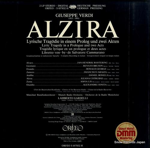 GARDELLI, LAMBERTO verdi; alzira S057832H - back cover