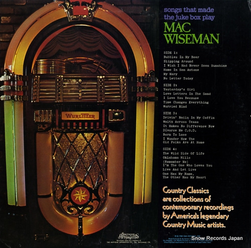 WISEMAN, MAC songs that made the juke box play CMH-9021 - back cover