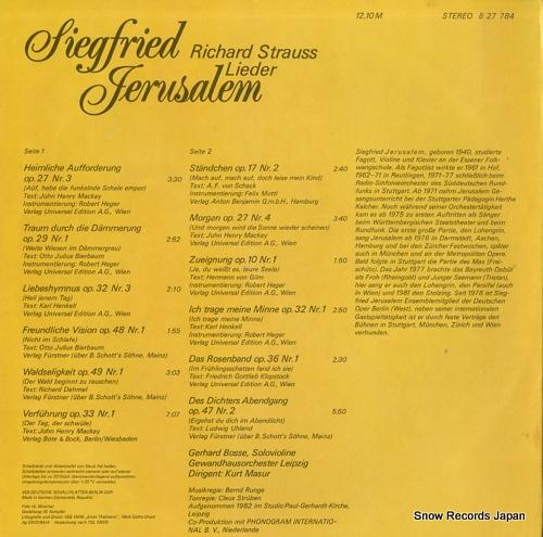 JERUSALEM, SIEGFRIED r.strauss; lieder 827784 - back cover