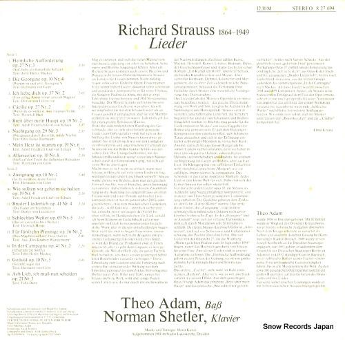 ADAM, THEO singt lieder von richard strauss 827694 - back cover