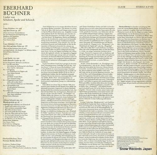 BUCHNER, EBERHARD lieder von schubert, spohr und schoeck 827472 - back cover