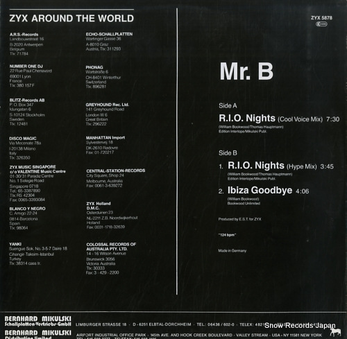 MR.B r.i.o.nights ZYX5878 - back cover