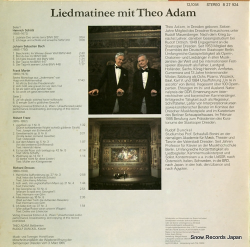 ADAM, THEO liedmatinee mit theo adam 827924 - back cover