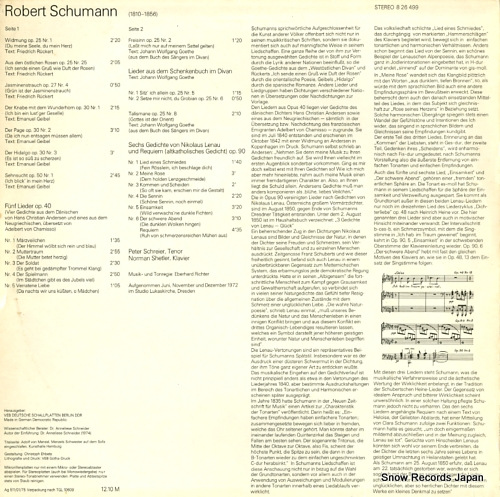 SCHREIER, PETER schumann; lieder nach andersen, lenau 826499 - back cover