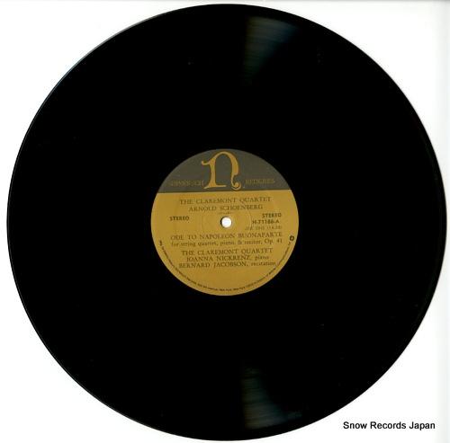 CLAREMONT QUARTET, THE schoenberg; ode to napoleon buonaparte G-5044 / H-71186 - disc