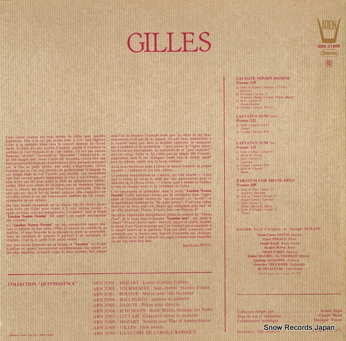 DURAND, GEORGES gilles; trois motets ARN31909 - back cover