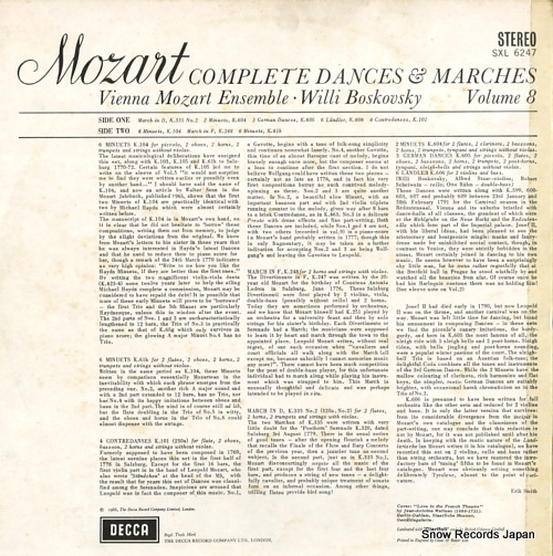 BOSKOVSKY, WILLI mozart: complete dances & marches vol.8 SXL6247 - back cover