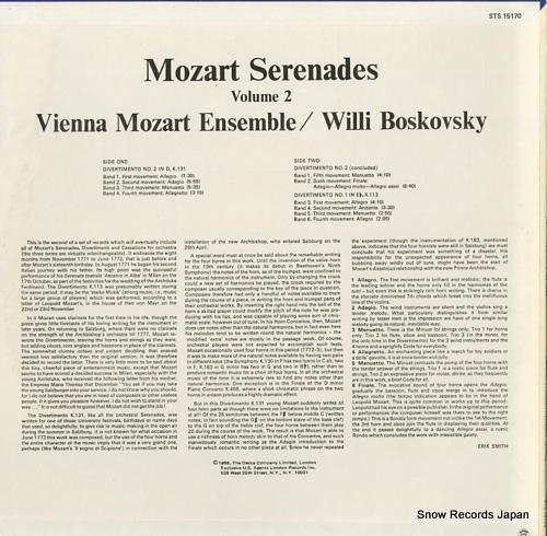 BOSKOVSKY, WILLI mozart serenades / volume two STS15170 - back cover