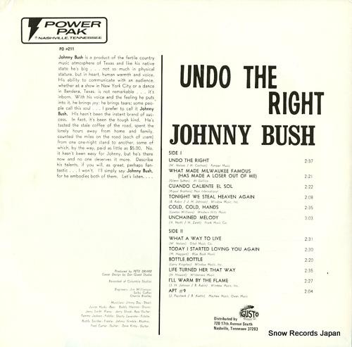 BUSH, JOHNNY undo the right PO#211 - back cover