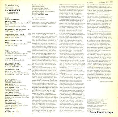 KLEE, BERNHARD albert lortzing; der wildschutz - ausschnitte - 827776 - back cover