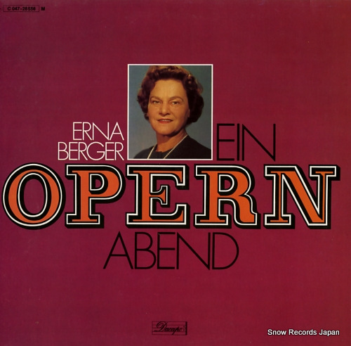 BERGER, ERNA ein opernabend 1C047-28556 - front cover