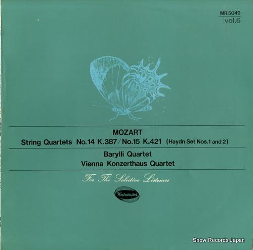 BARYLLI QUARTET / VIENNA KONZERTHAUS QUARTET mozart; string quartets no.14 / no.15 MR5049 - front cover
