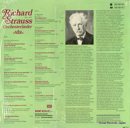 KOLLO, RENE r.strauss; orchesterlieder 200591-366 - back cover
