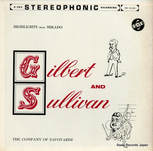 COMPANY OF SAVOYARDS, THE gilbert and sullivan; highlights from mikado STPL516.130 - front cover