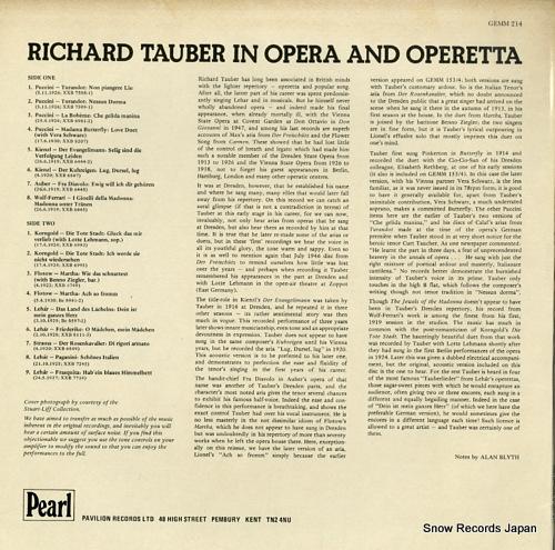 TAUBER, RICHARD richard tauber in opera and operetta GEMM214 - back cover