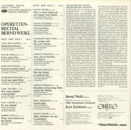 WEIKL, BERND operettenrecital S077831B - back cover