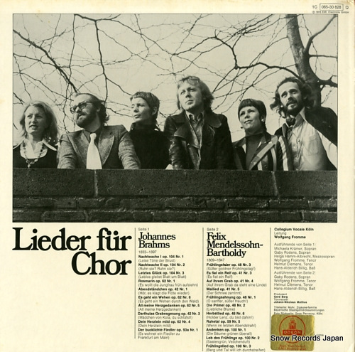 COLLEGIUM VOCALE KOLN lieder fur chor 1C065-30828 - back cover