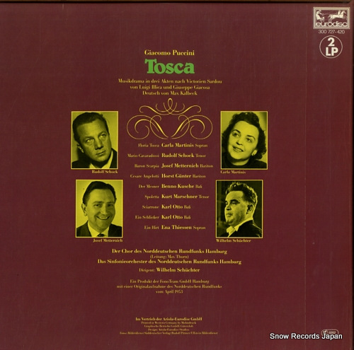 SCHUCHTER, WILHELM puccini; tosca 300727-420 - back cover
