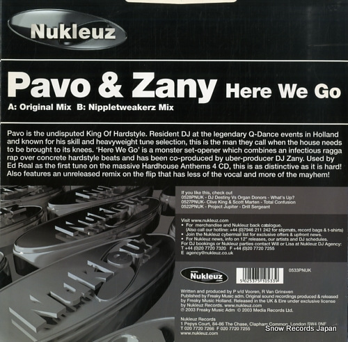PAVO AND ZANY here we go 0533PNUK - back cover