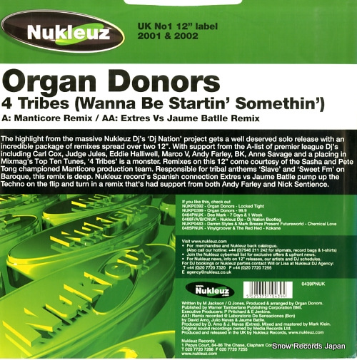 ORGAN DONORS 4 tribes (wanna be startin' somethin') 0439PNUK - back cover