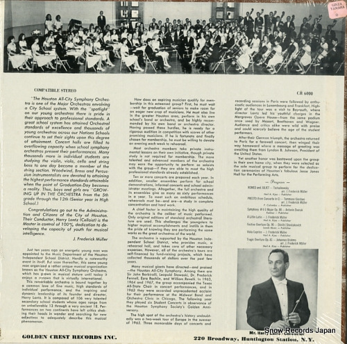 LANTZ, HARRY honor award is presented to houston all-city symphony orchestra CR6000 - back cover