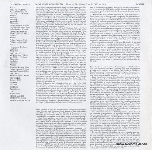 V/A franz danzi; kammermusik SM92113 - back cover