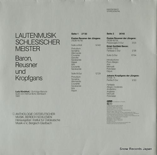 KIRCHHOF, LUTZ lautenmusik schlesischer meister HM/IOM694D - back cover