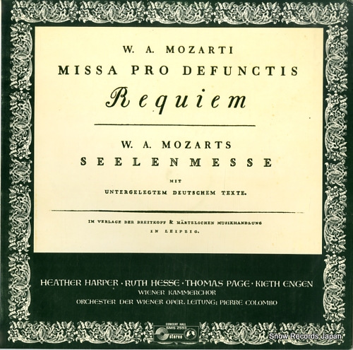 COLOMBO, PIERRE mozart; requiem SMS2593 - front cover