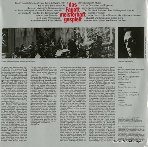 MULLER-BRUHL, HELMUT devienne; das fagott meisterhaft gespielt VMS813 - back cover