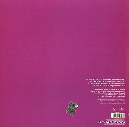 MUMBA, SMANTHA gotta tell you MS25-00 - back cover