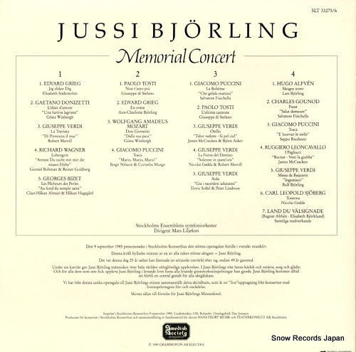 BJORLING, JUSSI memorial concert SLT33275/6 - back cover