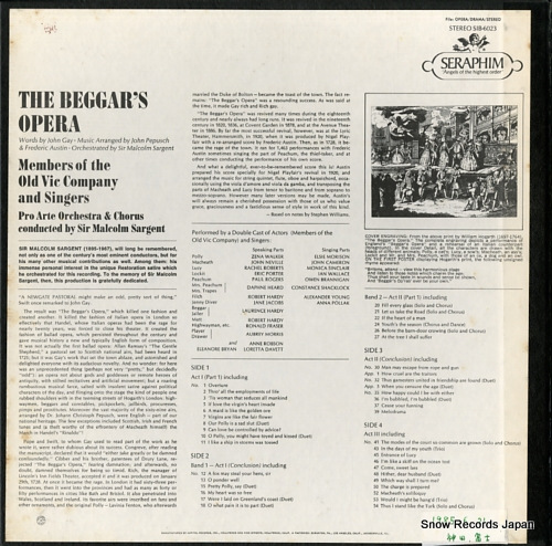 SARGENT, MALCOLM gay-pepusch & austin; the beggar's opera SIB-6023 - back cover