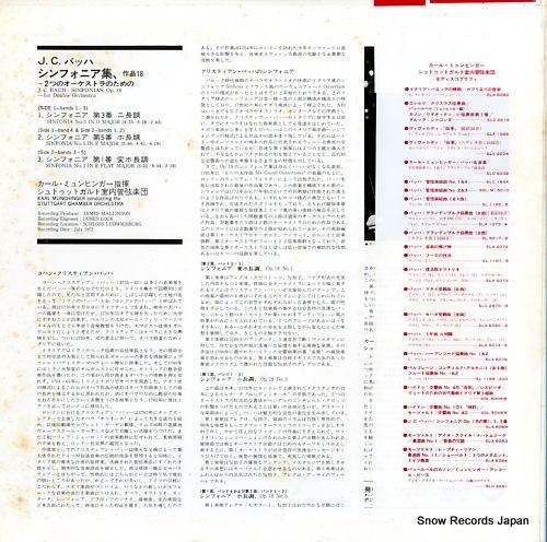 MUNCHINGER, KARL bach; sinfonias, op.18 SLA6069 - back cover