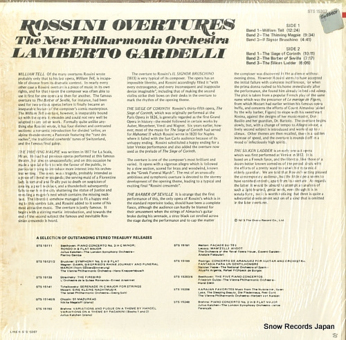 GARDELLI, LAMBERTO rossini; overtures STS15307 - back cover