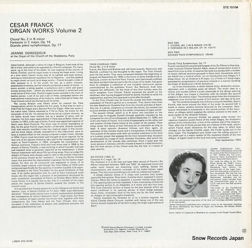 DEMESSIEUX, JEANNE franck; organ works volume two STS15104 - back cover