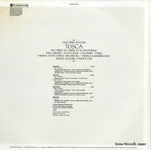 QUADRI, ARGEO puccini; tosca WGM0-8253/2 - back cover