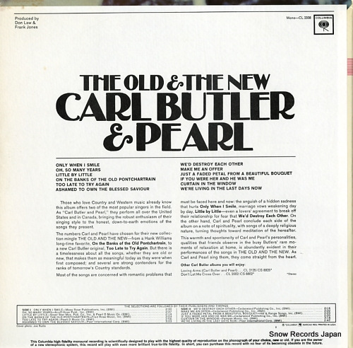 BUTLER, CARL AND PEARL the old & the new CL2308 - back cover