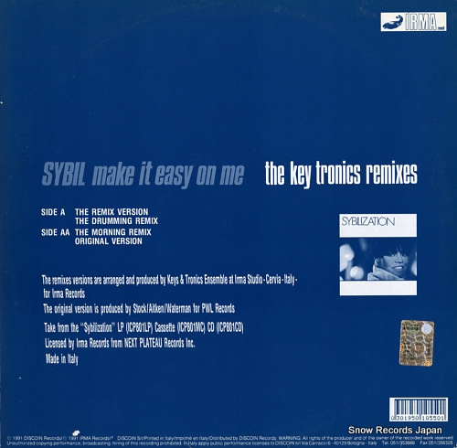 SYBIL make it easy on me (the key tronics remixes) ICP501 - back cover