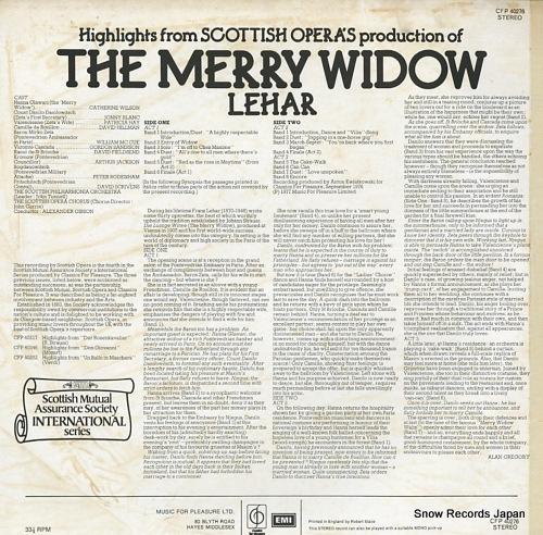 GIBSON, ALEXANDER lehar; the merry widow CFP40276 - back cover
