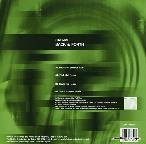 MAC, PAUL back & forth PRMT074 - back cover