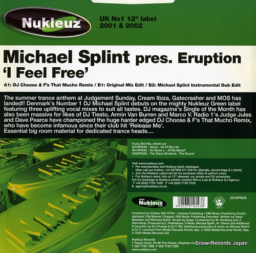 SPLINT, MICHAEL i feel free 0543PNUK - back cover