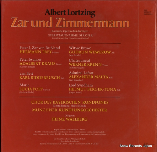 WALLBERG, HEINZ albert lortzing; zar und zimmermann 5922424-4 - back cover